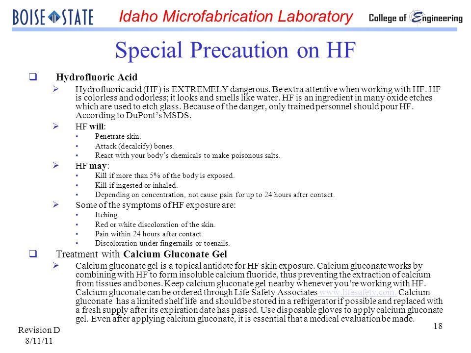 Special Precaution on HF