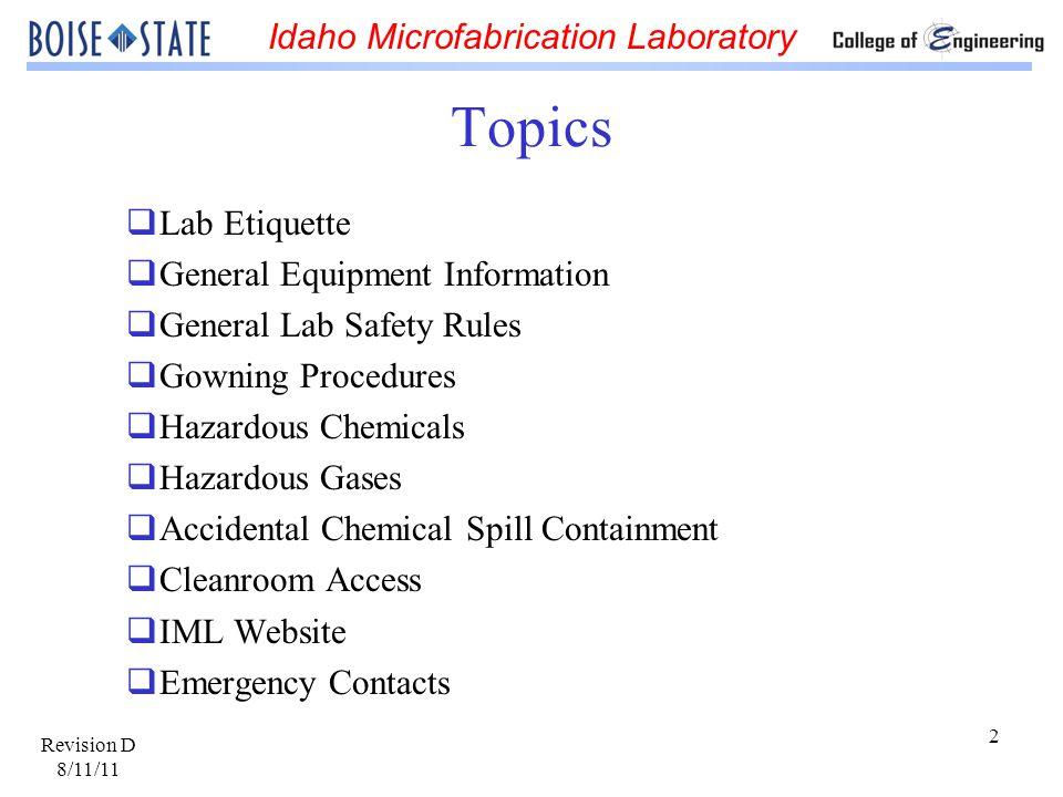 Topics Lab Etiquette General Equipment Information