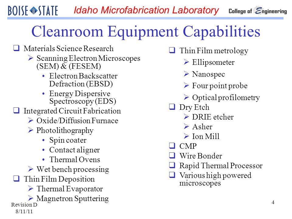 Cleanroom Equipment Capabilities