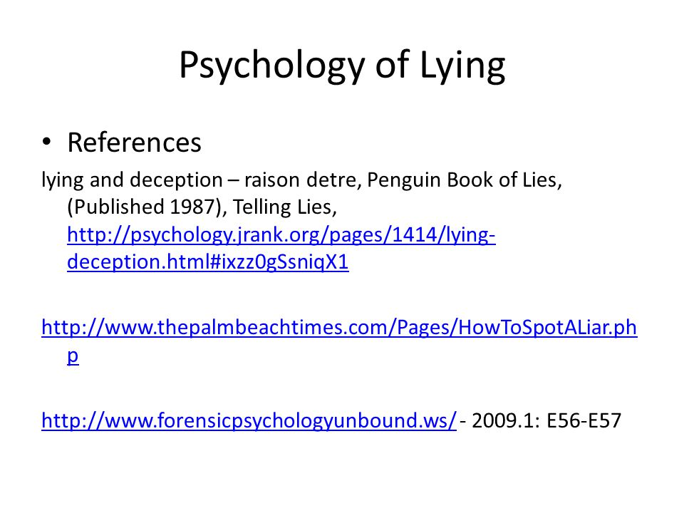 Psychology of Lying References