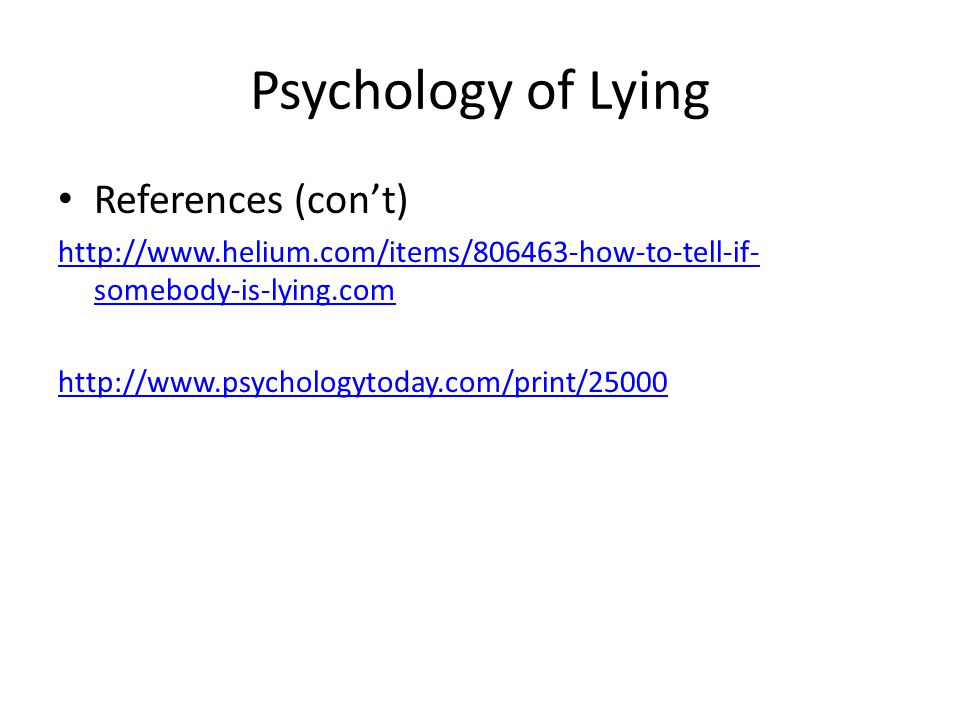 Psychology of Lying References (con't)