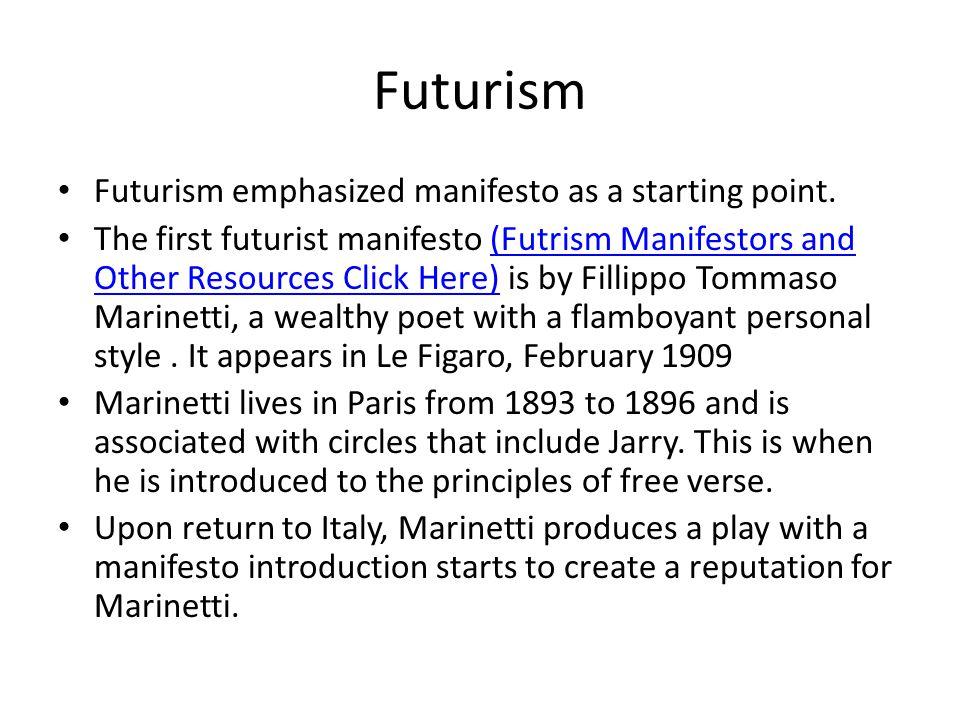 Futurism Futurism emphasized manifesto as a starting point.