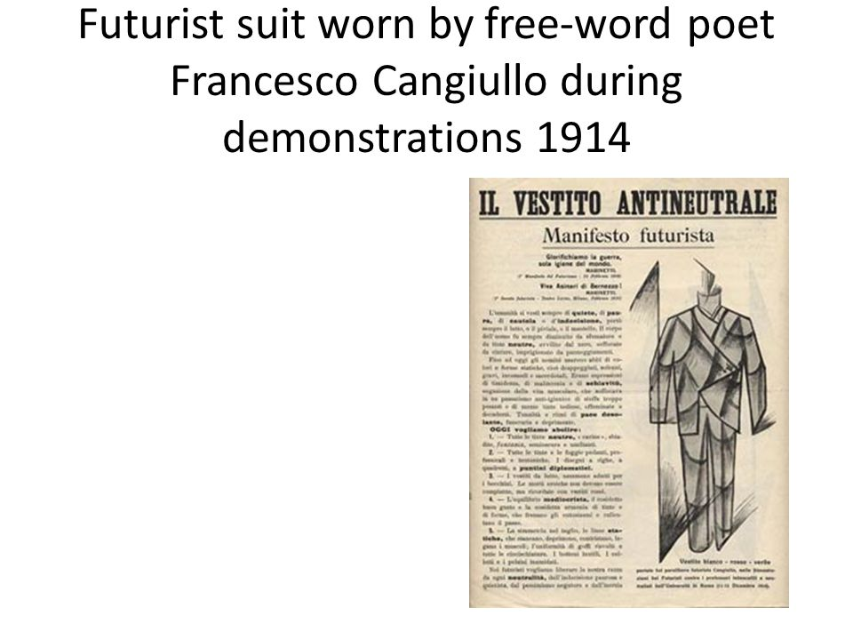 Futurist suit worn by free-word poet Francesco Cangiullo during demonstrations 1914