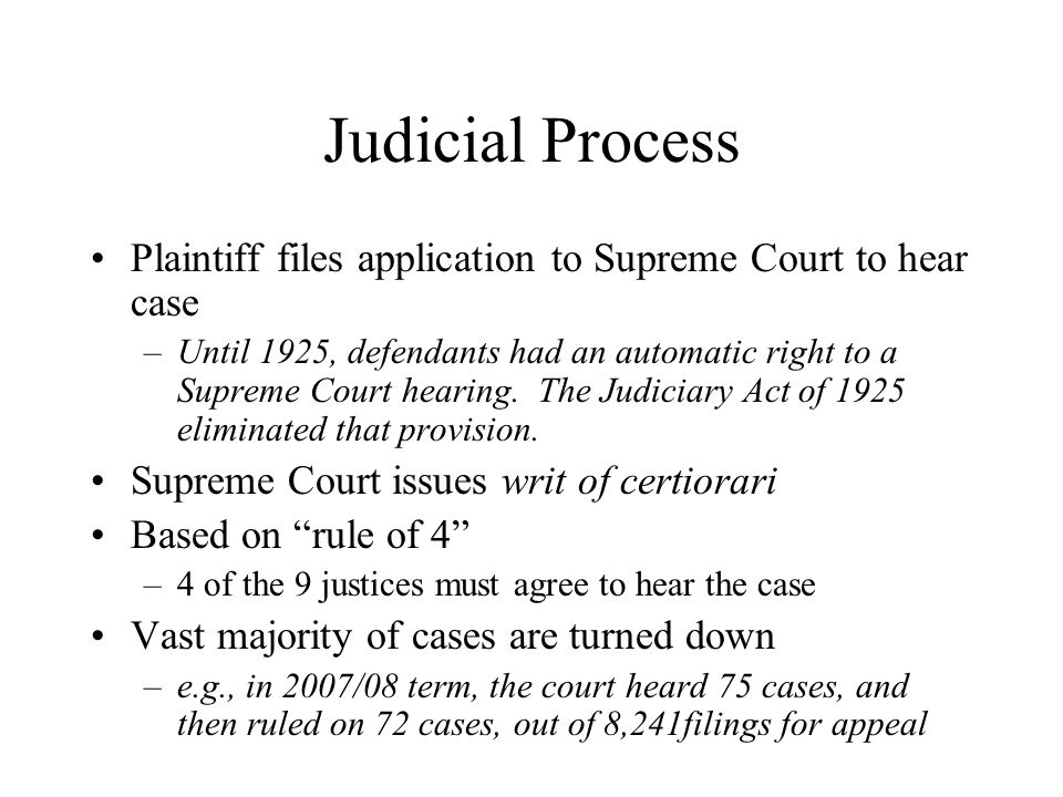 Judicial Process Plaintiff files application to Supreme Court to hear case.