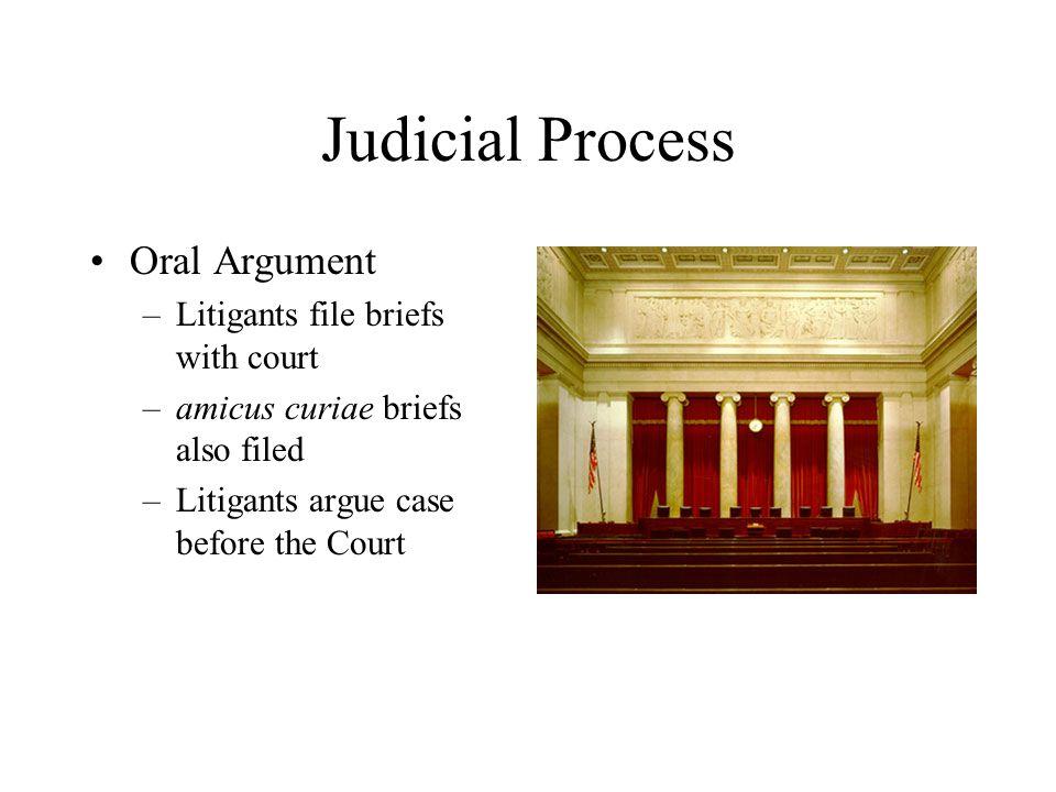 Judicial Process Oral Argument Litigants file briefs with court