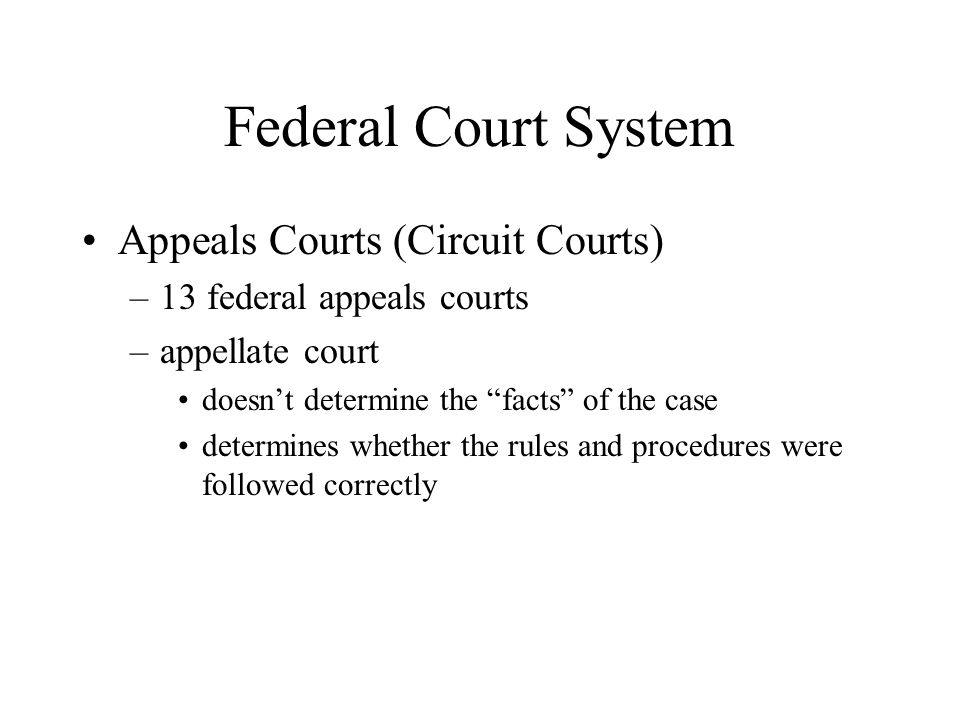 Federal Court System Appeals Courts (Circuit Courts)