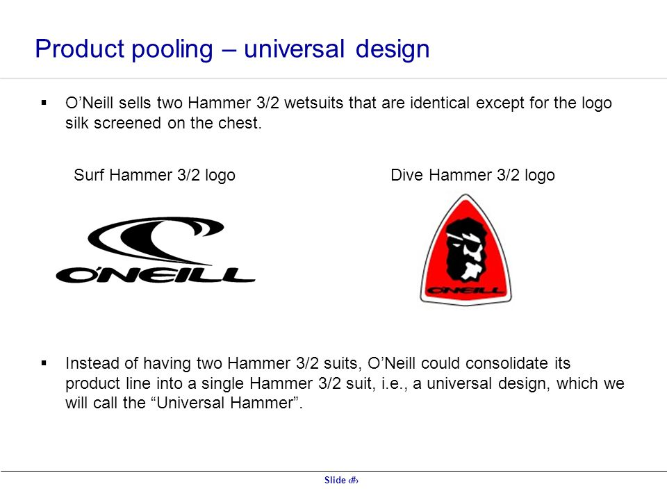 Product pooling – universal design