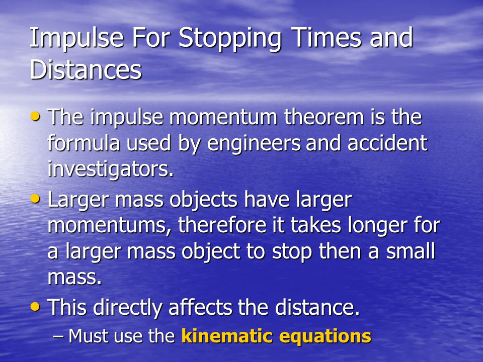 Impulse For Stopping Times and Distances