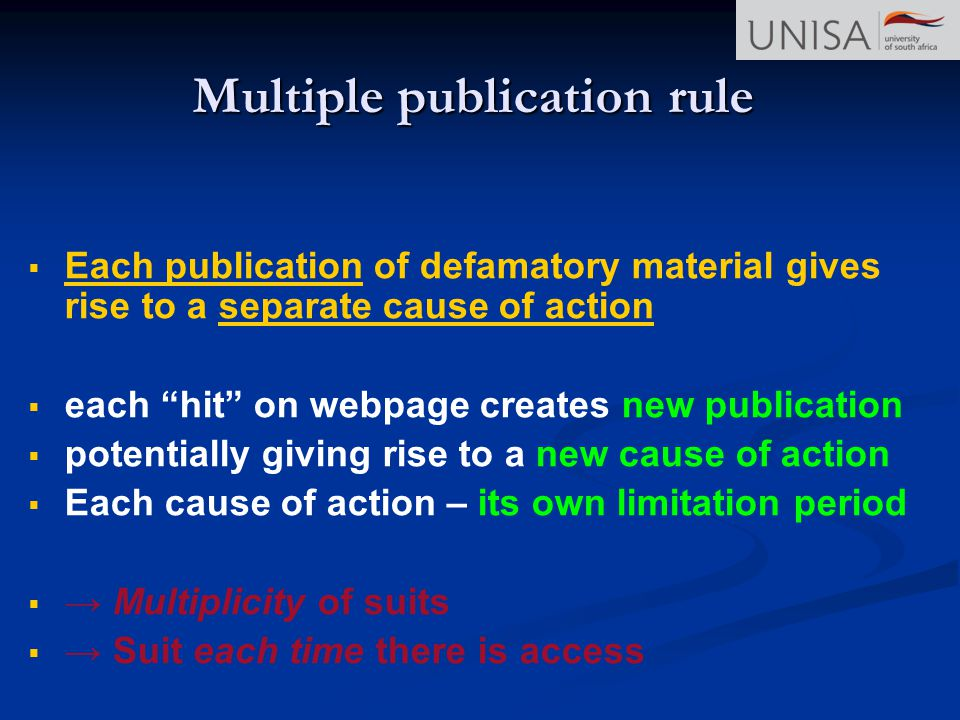 Multiple publication rule