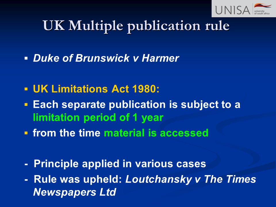 UK Multiple publication rule