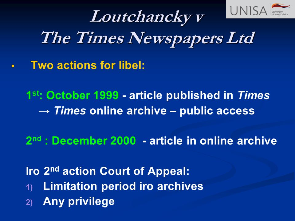 Loutchancky v The Times Newspapers Ltd