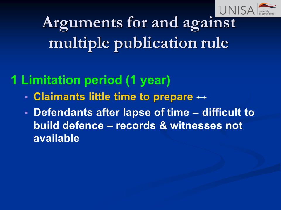 Arguments for and against multiple publication rule