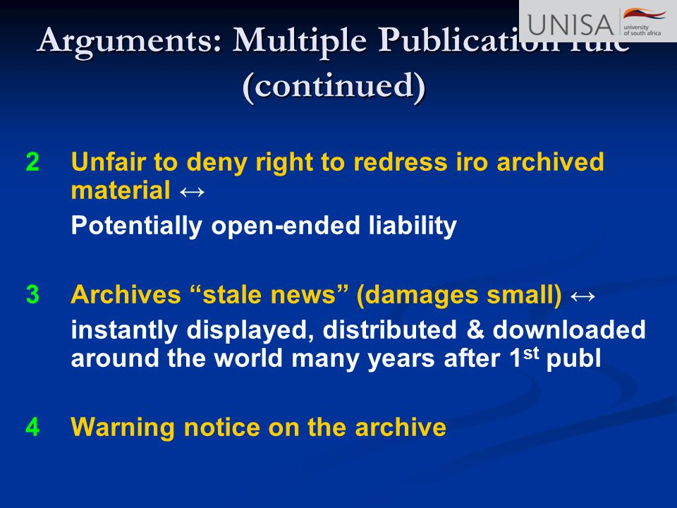 Arguments: Multiple Publication rule (continued)
