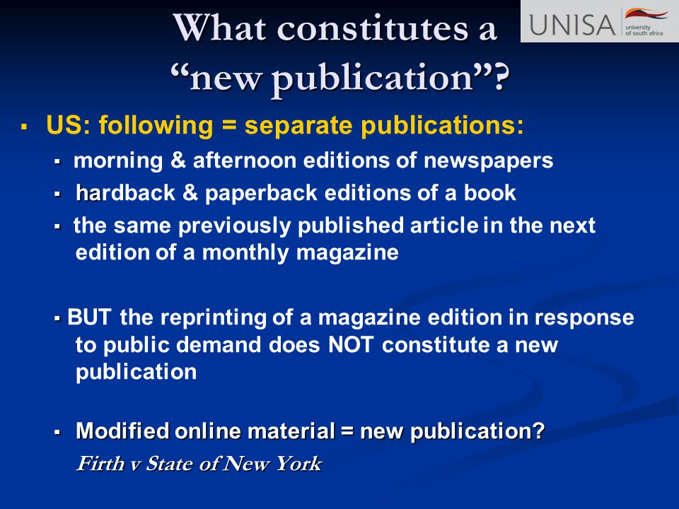 What constitutes a new publication
