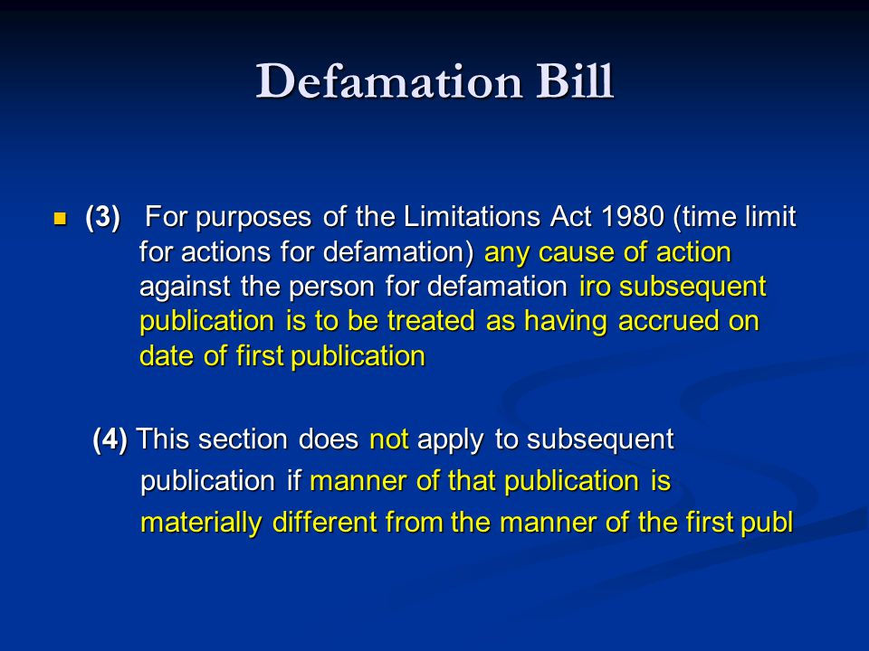 Defamation Bill