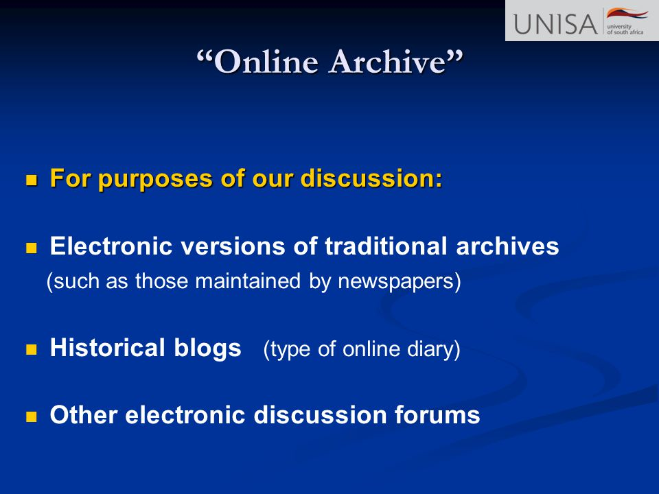 Online Archive For purposes of our discussion: