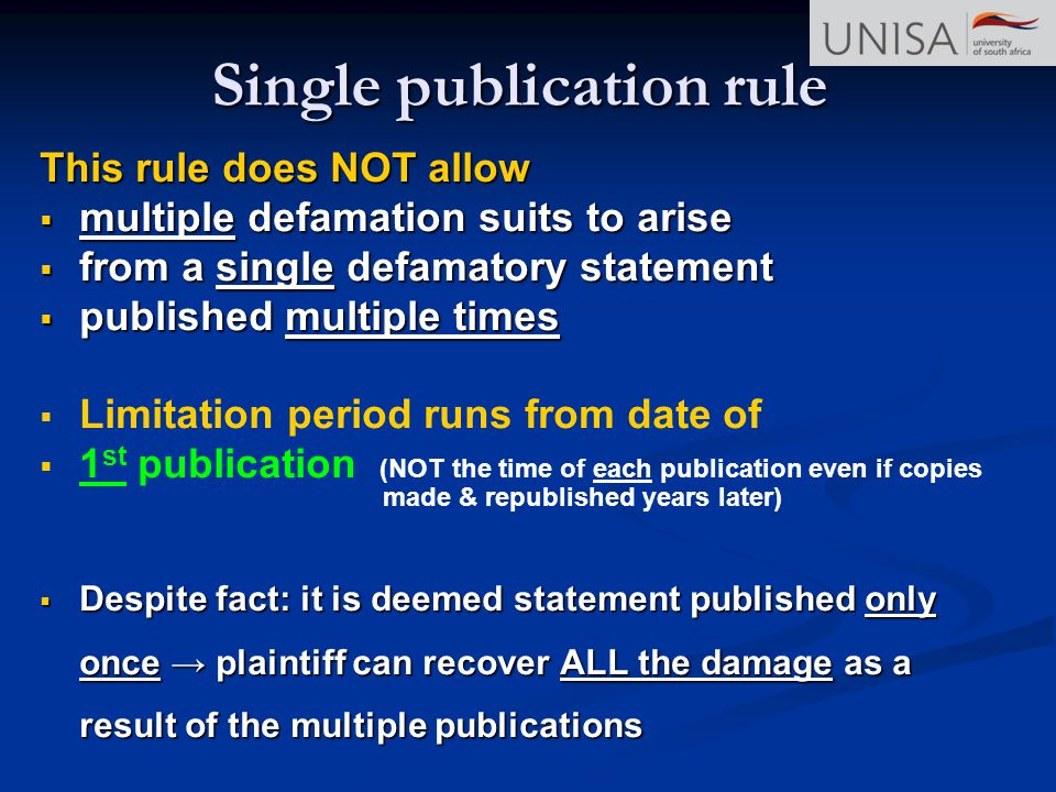 Single publication rule