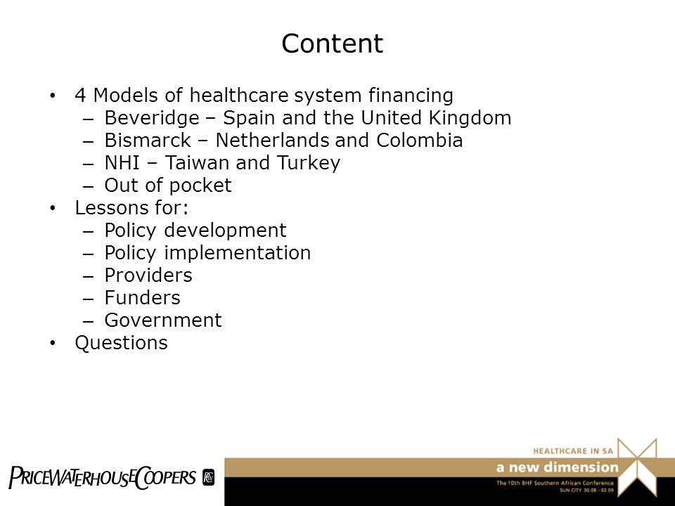 Content 4 Models of healthcare system financing