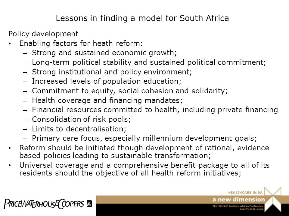 Lessons in finding a model for South Africa