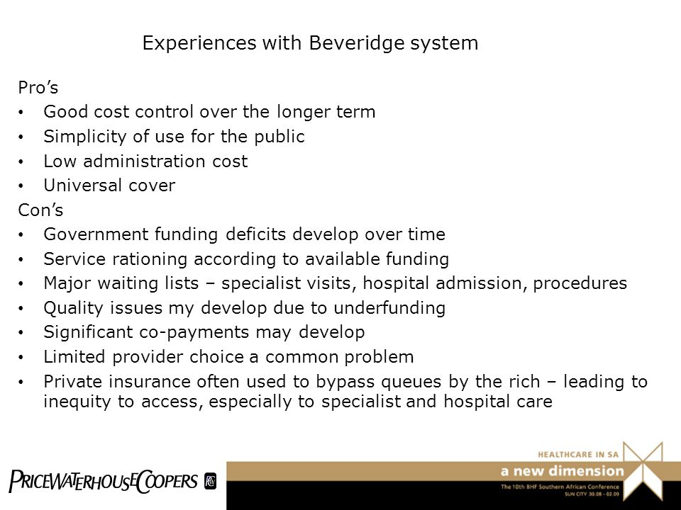 Experiences with Beveridge system