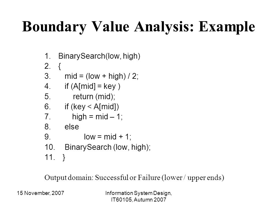 Boundary Value Analysis: Example
