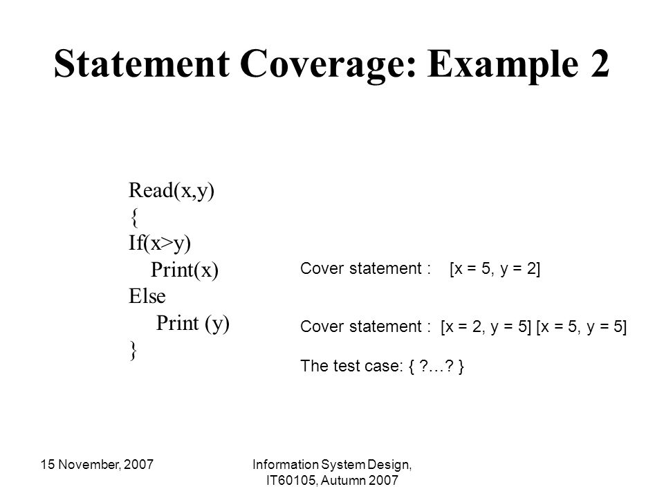 Statement Coverage: Example 2