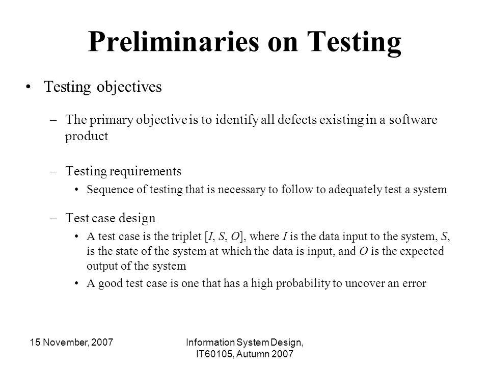 Preliminaries on Testing