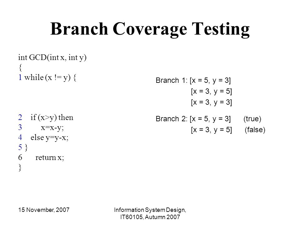 Branch Coverage Testing