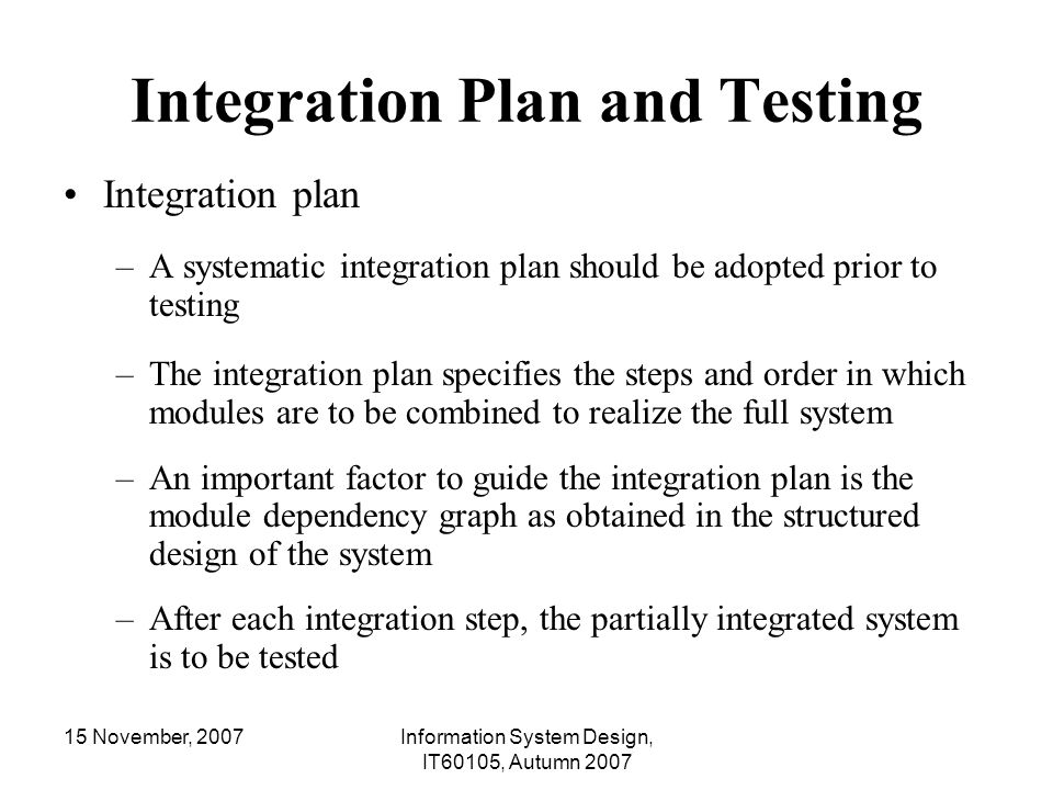 Integration Plan and Testing