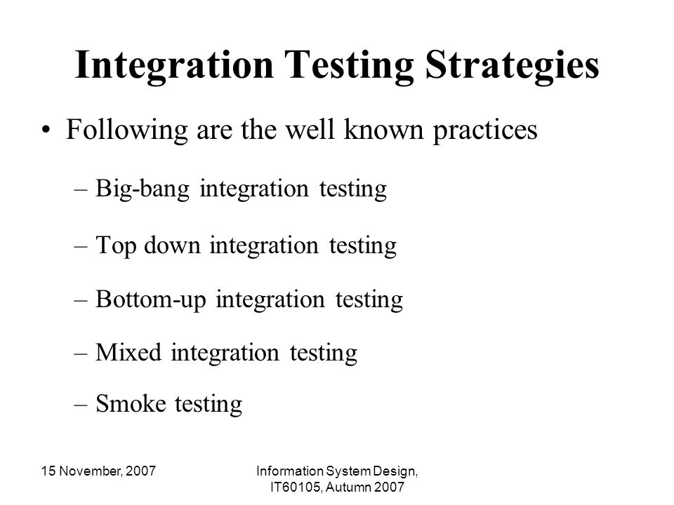 Integration Testing Strategies