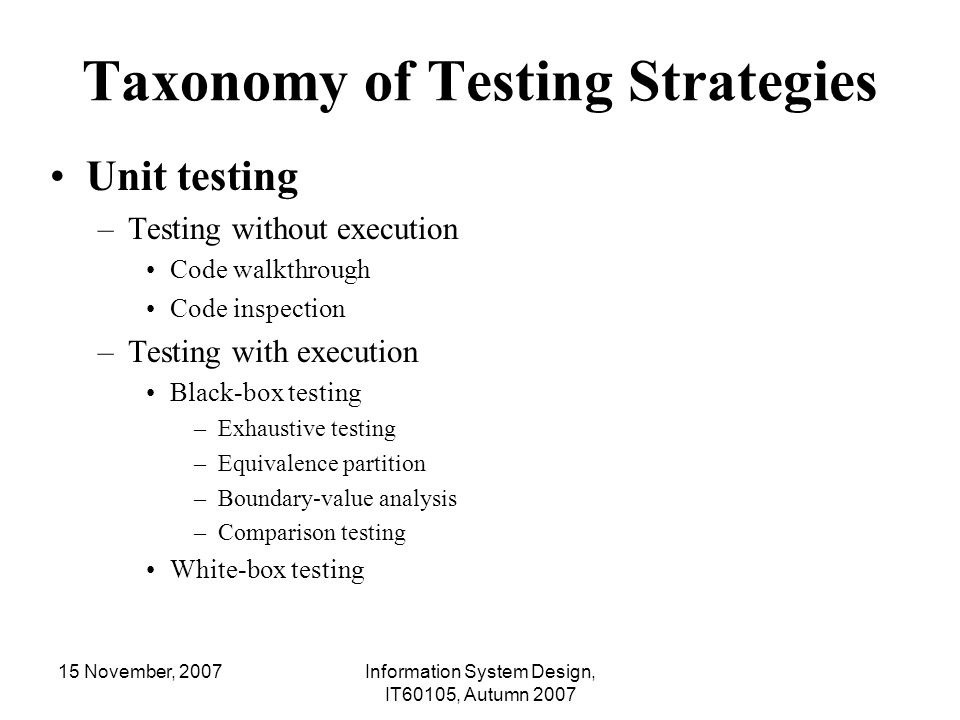 Taxonomy of Testing Strategies