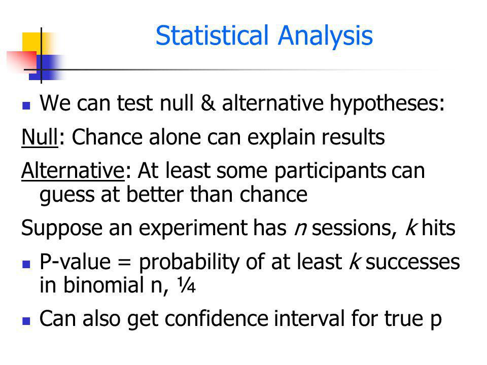 Statistical Analysis We can test null & alternative hypotheses: