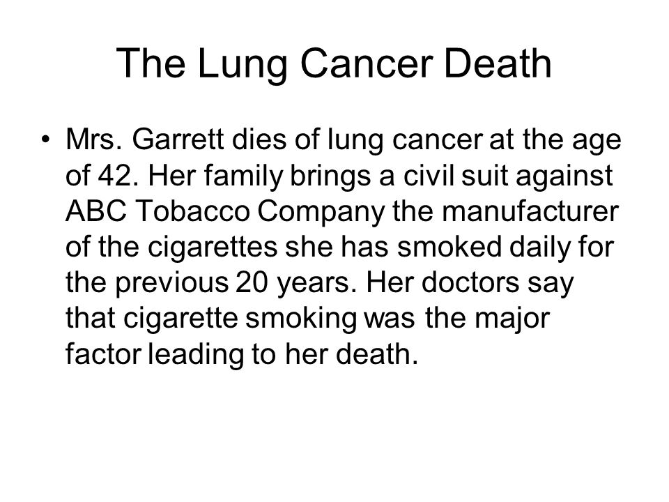 The Lung Cancer Death