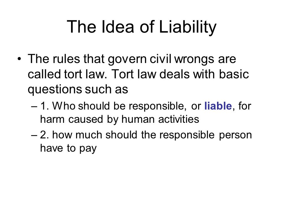 The Idea of Liability The rules that govern civil wrongs are called tort law. Tort law deals with basic questions such as.