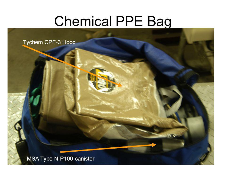 Chemical PPE Bag Tychem CPF-3 Hood MSA Type N-P100 canister