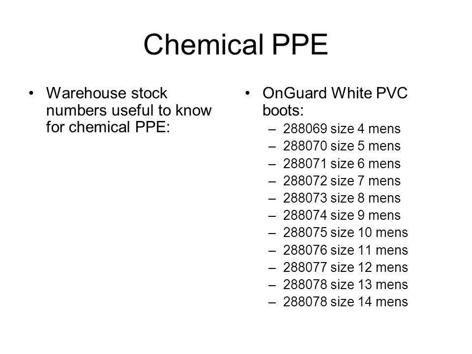 Chemical PPE Warehouse stock numbers useful to know for chemical PPE: