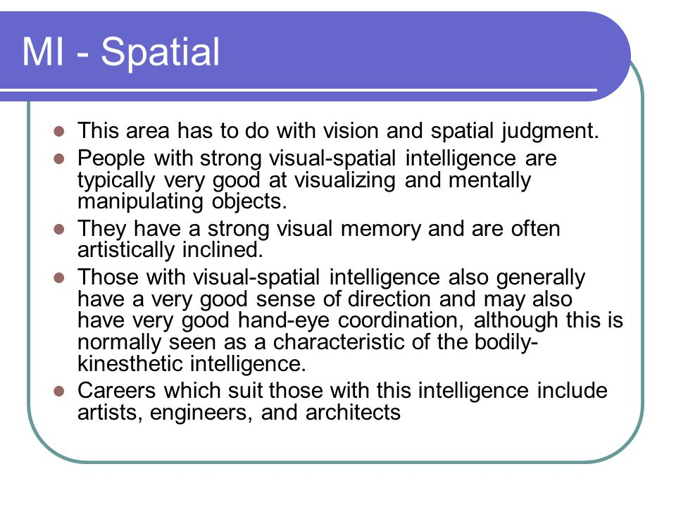 MI - Spatial This area has to do with vision and spatial judgment.