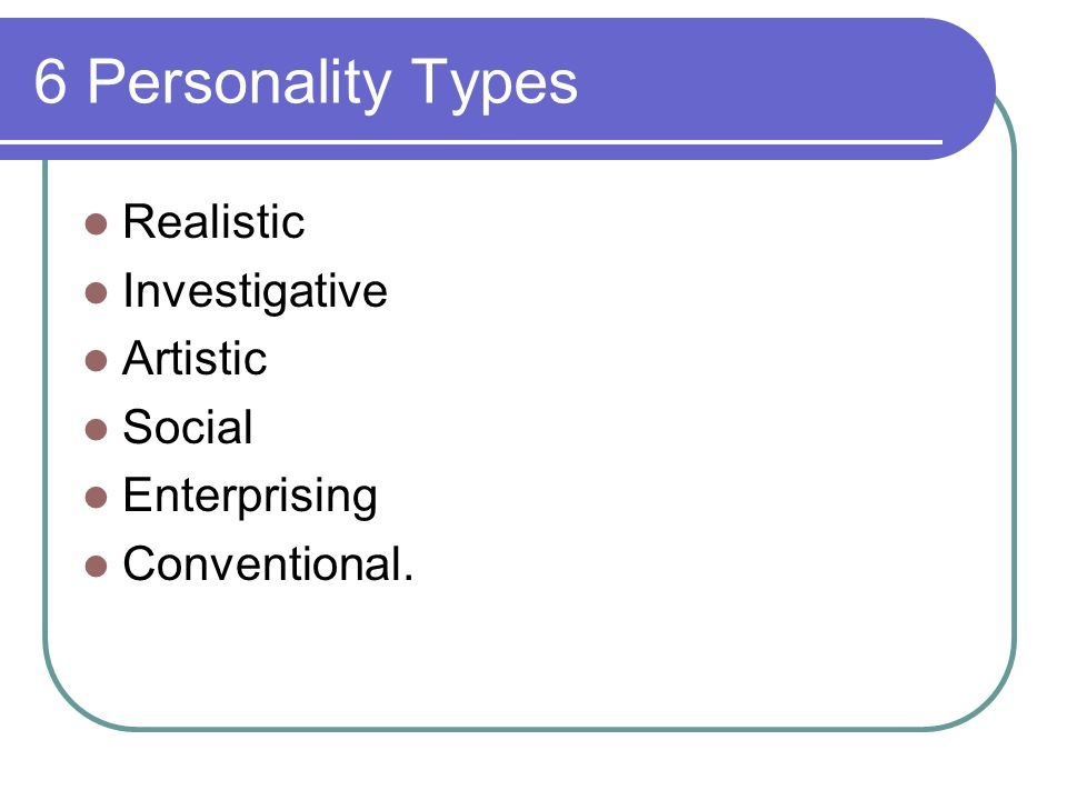 6 Personality Types Realistic Investigative Artistic Social