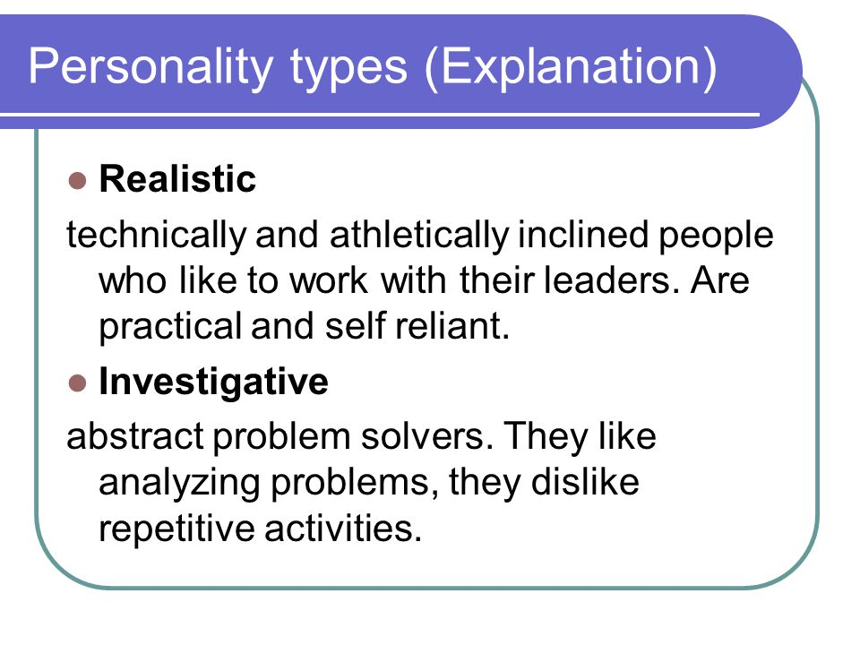 Personality types (Explanation)