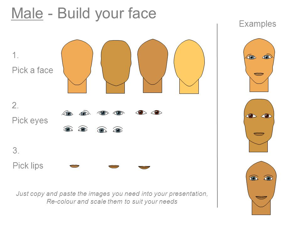 Male - Build your face Examples 1. Pick a face 2. Pick eyes 3.
