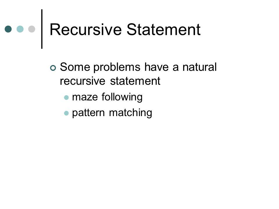 Recursive Statement Some problems have a natural recursive statement