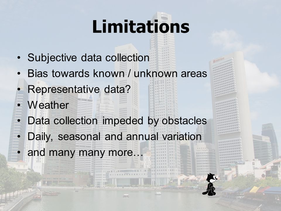 Limitations Subjective data collection