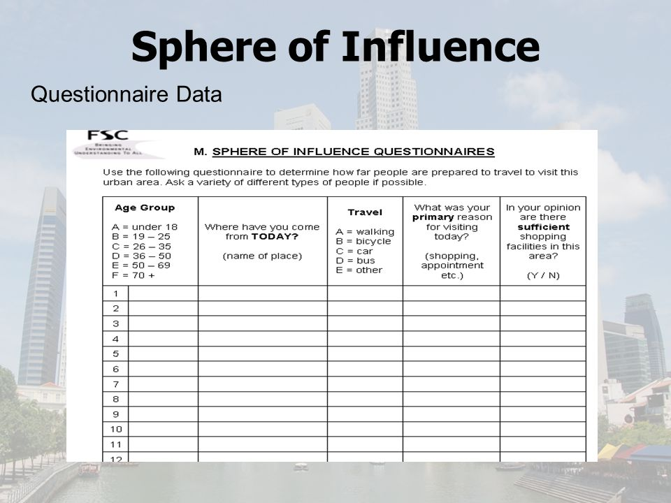 Sphere of Influence Questionnaire Data