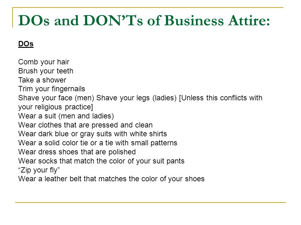 DOs and DON'Ts of Business Attire: