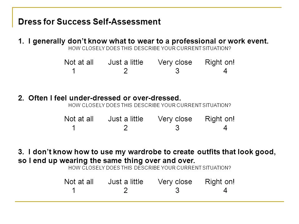 Dress for Success Self-Assessment