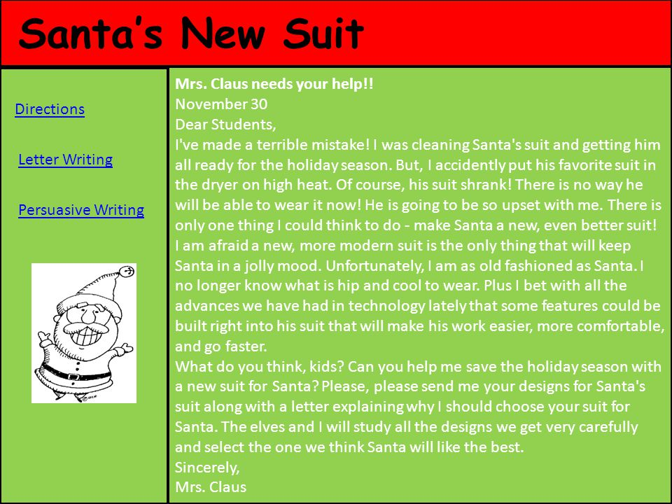 Santa's New Suit Mrs. Claus needs your help!!