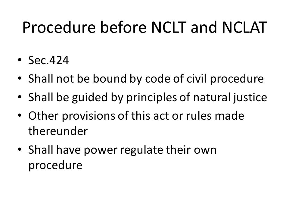 Procedure before NCLT and NCLAT