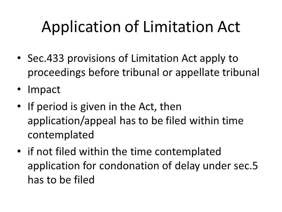 Application of Limitation Act