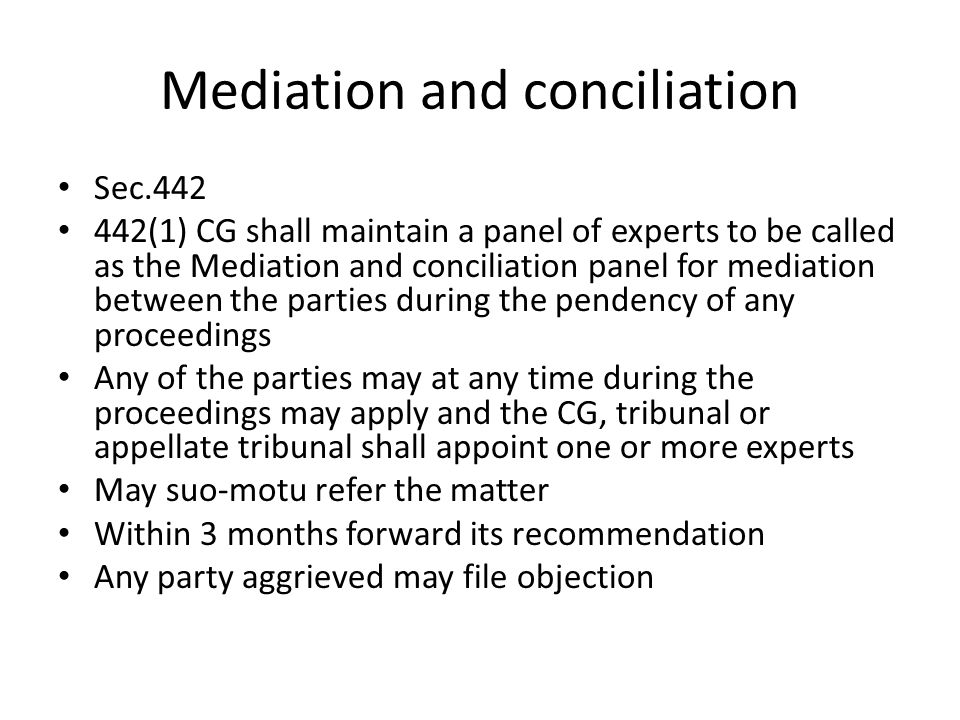 Mediation and conciliation