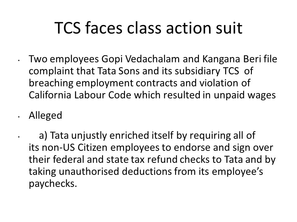 TCS faces class action suit